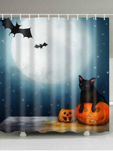 Halloween Moon Night Print Waterproof Bathroom Shower Curtain Kids - halloween bathroom sets