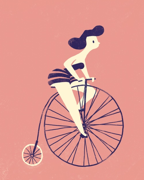 girl on bike #illustration #color