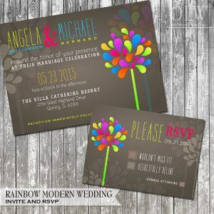 neon wedding invite