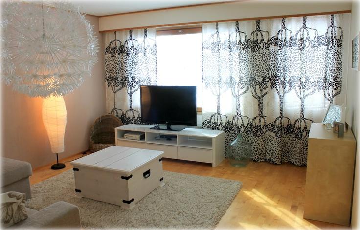 Marimekko Puistotie curtains in a Finnish living room. #marimekko #interior #finland