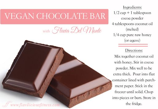 Raw Vegan Chocolate Recipe - Fitness For Women by Flavia Del Monte NOTE: better to use raw honey!