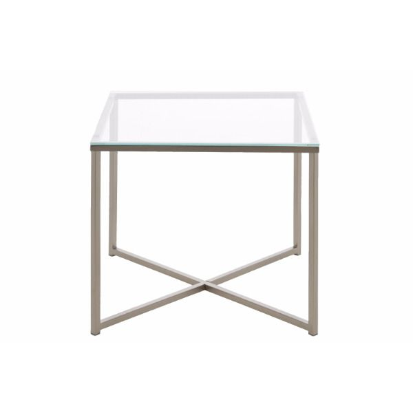Square Clear Glass And Chrome Side Table Glass Lamp Table Bedside Table Side Table Glass Side Tables