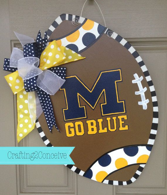 MICHIGAN INSPIRED FOOTBALL Door Hanger by Crafting2Conceive