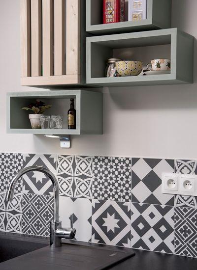 black-white, decoration, cuisine, renovation, amenagement, carreaux de ciment, lyon, appartement, marion lanoe, decoration, architecture interieure, ancien