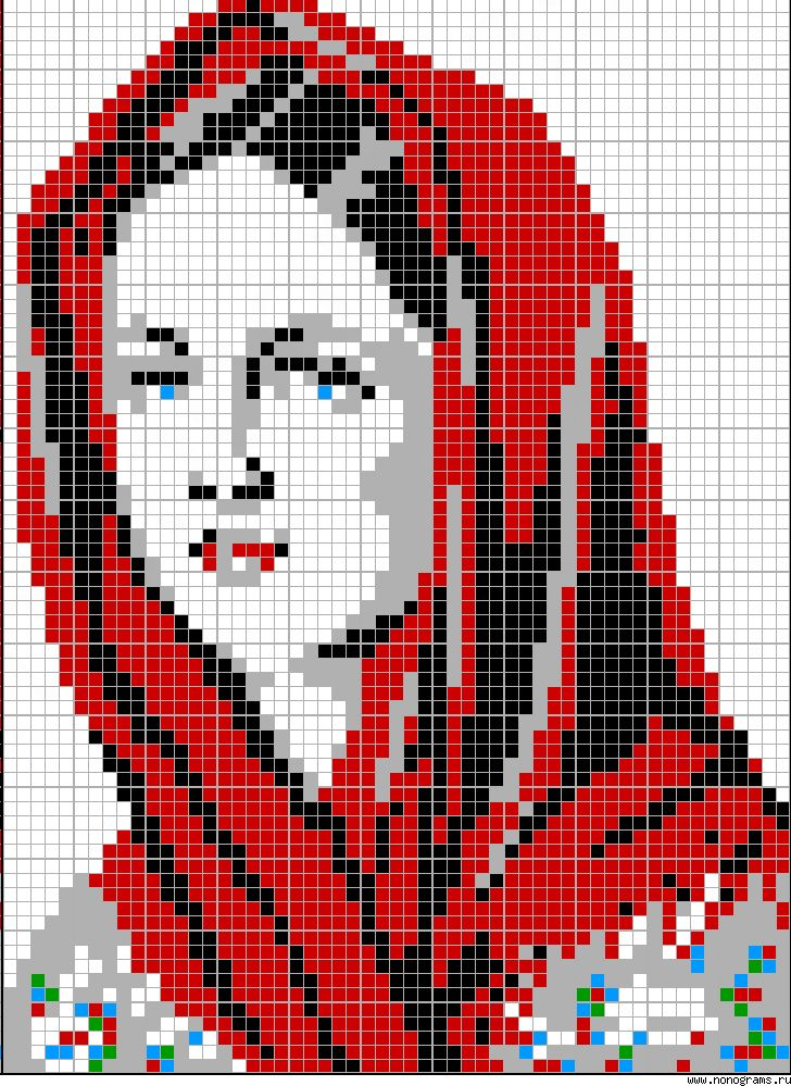 Woman wearing red scarf on her head patter / chart for cross stitch, knitting, knotting, beading, weaving, pixel art, and other crafting projects. Great for alpha friendship bracelet pattern.