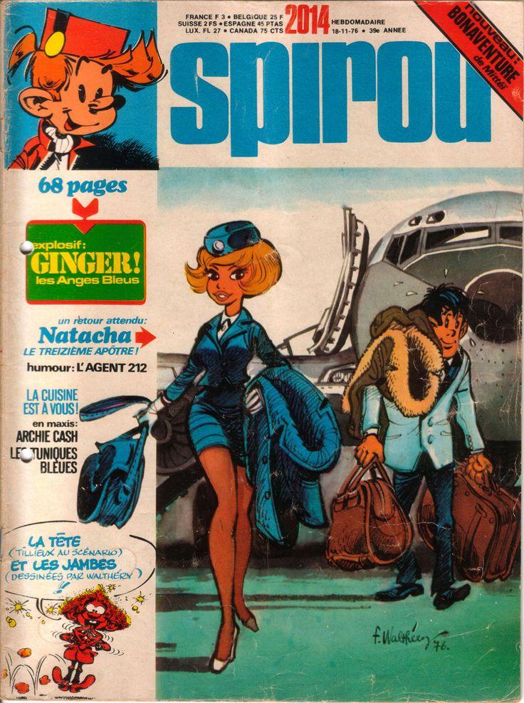 Natacha en couverture du Spirou 2014 par Walthéry 1976