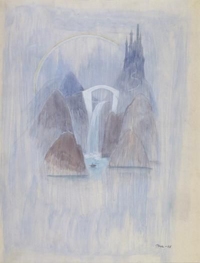 Tove Jansson, Finland, Sininen satumaisema, akvarelli 1955, Helsingin kaupungin taidemuseo