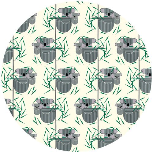 """Charley Harper for Birch Fabrics Organic, Nurture, Koala Koala   Fabric is sold by the 1/2 Yard. For example, if you would like to purchase 1 Yard, you would enter 2 in the Qty. box at Checkout. Yardage is cut in one continuous piece.  Examples:  1/2 yard = 1 1 yard = 2 1 1/2 yards = 3 2 yards = 4  1/2 Yard Measures 18"""" x 44/45""""   Fiber Content: 100% Organic Cotton   Hover over image for a larger, better view."""