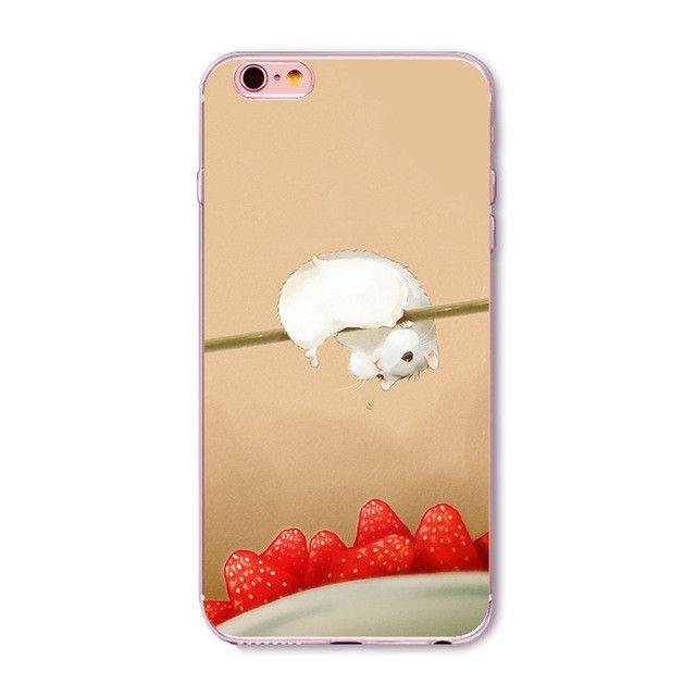 "Fundas Mobile Phone Case Cover for iphone 6 6S 4.7"" Soft Slim TPU Transparent Soft Cute Animal Cat Hamster Panda Rabbit Bags"