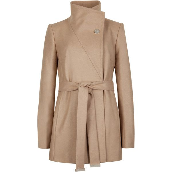 Ted Baker Short Wrap Coat (£270) ❤ liked on Polyvore featuring outerwear, coats, taupe, wrap coat, belted coat, short coat, ted baker coat and ted baker