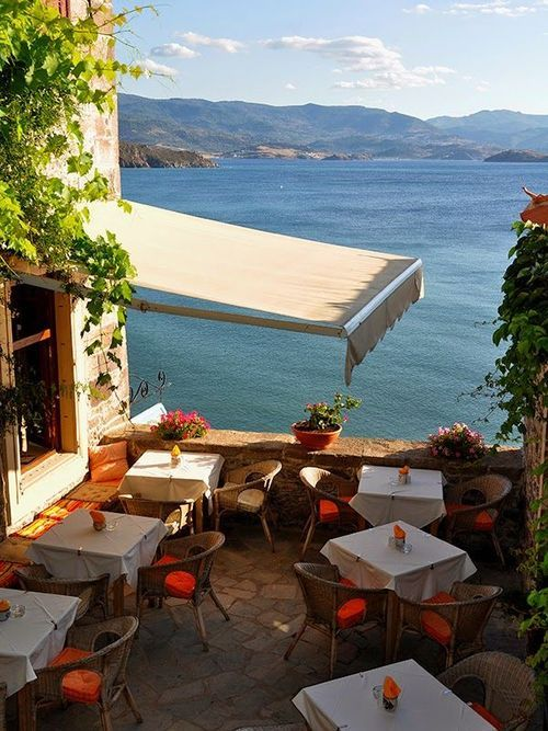 Seaside Cafe, Lesvos Greece photo via franchezka - Blue Pueblo
