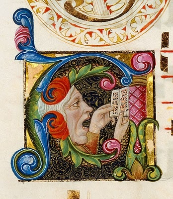 Initial A:  A man singing.  MS. LUDWIG VI 2, FOL. 128V  Artist unknown, Italian, circa 1460-1480.  Tempera colors and gold leaf on parchment.