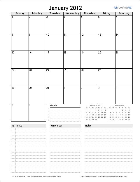 Screenshot of the Monthly Planner Template in EXCEL ~I ♥ this, & being a scrapbooker, I printed it on my pretty card stock ;)