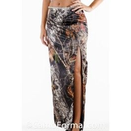 Slim Long Camo Skirt with Rhinestone Trim. Split can be front or back. Sizes 2-30. Pictured in Mossy Oak New Breakup. Available in all camo patterns. Made in the USA.