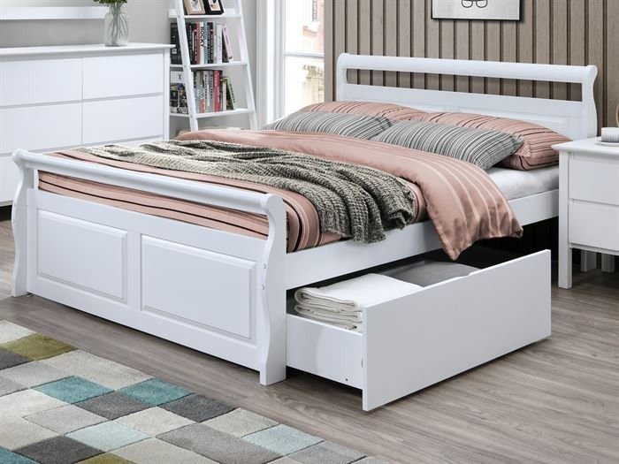White Double Bed with Storage 50-75% Off SALE - Hardwood Frame