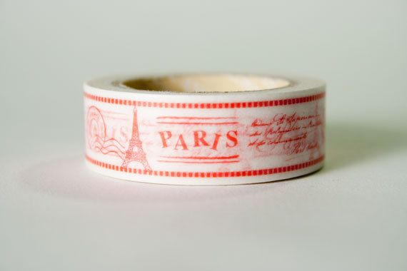 Washi Tape Red & White Paris Travel by HexagonInc on Etsy, $3.50