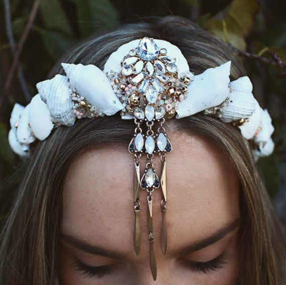 Small white mermaid by chelseasflowercrowns on Etsy