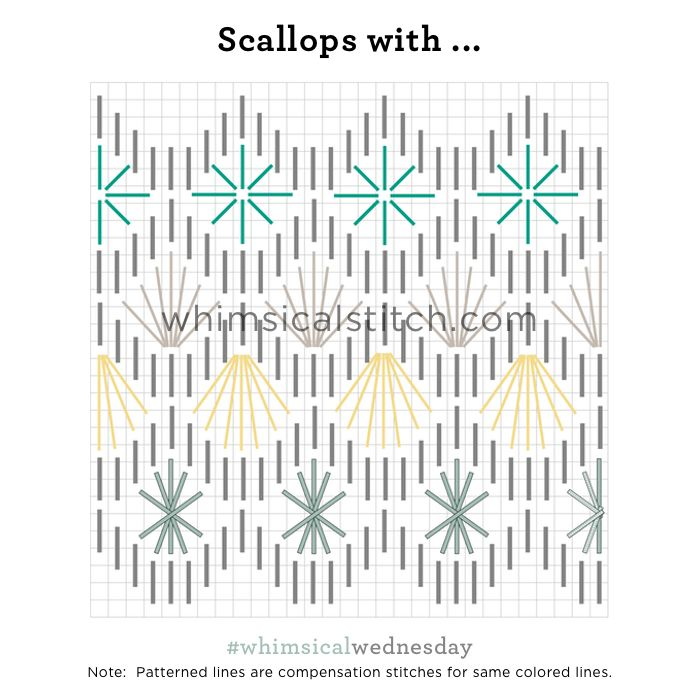 Scallops With... from February 7, 2018 whimsicalstitch.com/whimsicalwednesdays blog post.