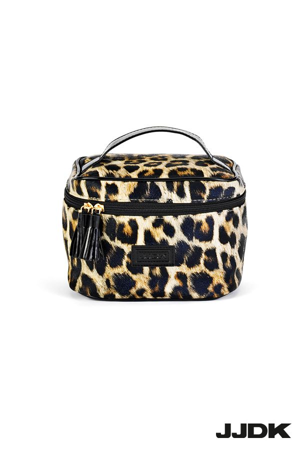 JJDK Beauty box with inside mirror, leopard pattern