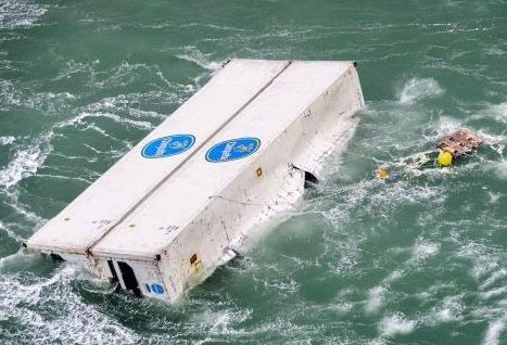 Containers lost overboard from the STAR FIRST during severe weather off Boulogne-sur-Mer, France in the English Canal