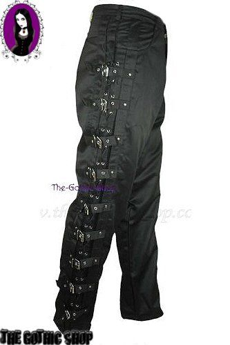 Mens Lace-Up Eyelet & Buckle Black Gothic Trousers