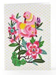 Petra Boase Pink lovebird papercut card