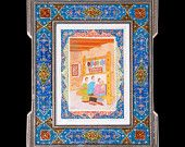 Persian miniature with stunning khatam frame