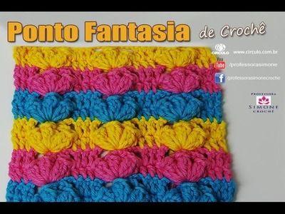 Ponto Fantasia Crochê Pipocas Coloridas - passo a passo - Professora Simone