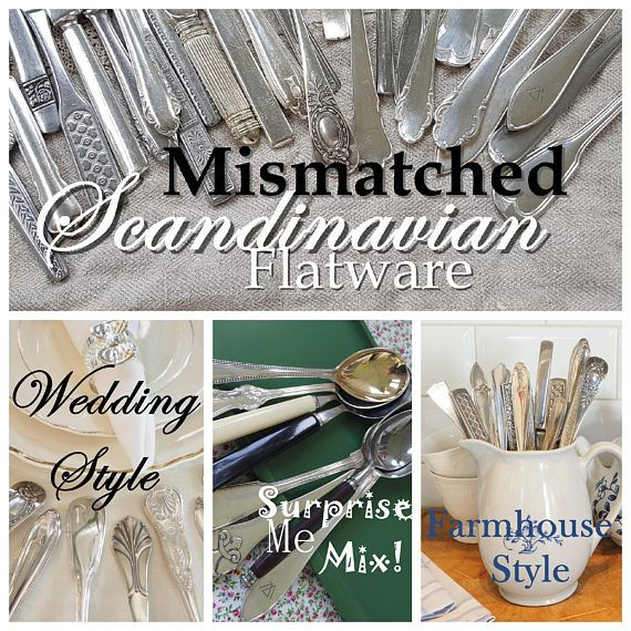 $16-180 Mismatched Scandinavian flatware - choose your favourite style. Buy now in our Etsy shop! https://www.etsy.com/se-en/listing/500378804/mismatched-flatware-silverware-set