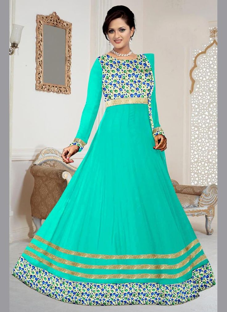 Integral Embroidered Work Sea Green Georgette Anarkali Salwar Kameez