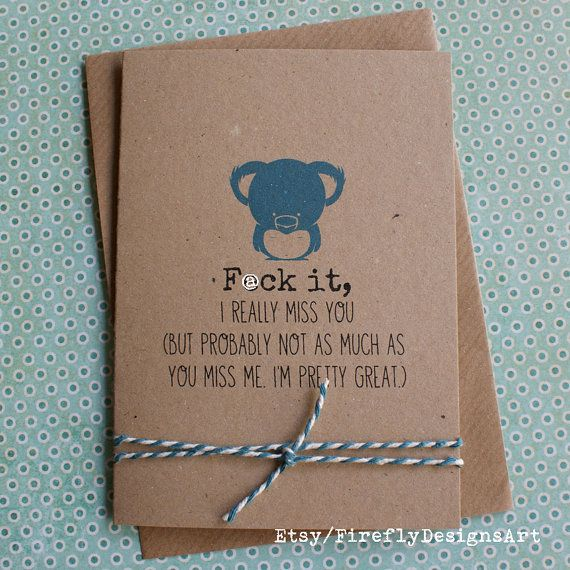 F@ck it, I really miss you. Funny smart Irish greeting card