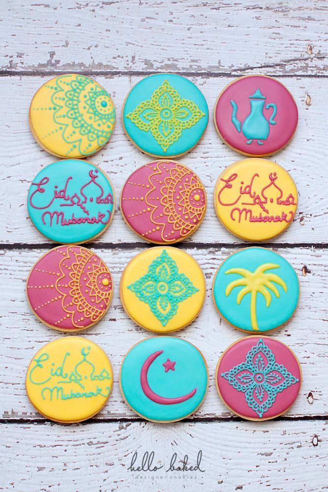 ARABIC COOKIES (Arabic tea pot, palm trees, Eid Mubarak and the crescent moon)