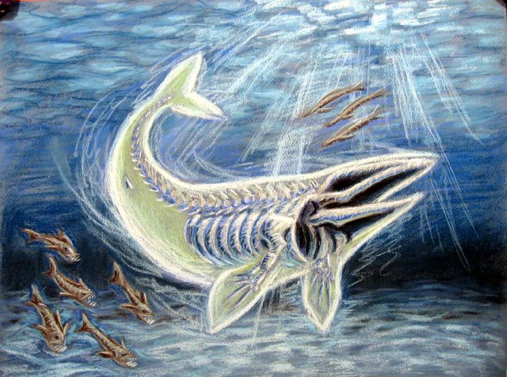 Bake-kujira (ghost whale) Japanese cryptid: supposedly some sort of swimming skeleton of a whale that has a ghost body. It lives off the coastline of Japan. It is followed by strange birds and fish and it is highly aggressive.