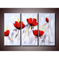 'Red Flower 281' 3-piece Gallery-wrapped Hand Painted Canvas Art Set | Overstock.com Shopping - Top Rated Canvas