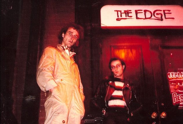 "Wayne Brown of The Fits (right) and an Edge staff member stand outside the club in a ""punk fashion"" magazine spread. Photo courtesy of Gary Topp."