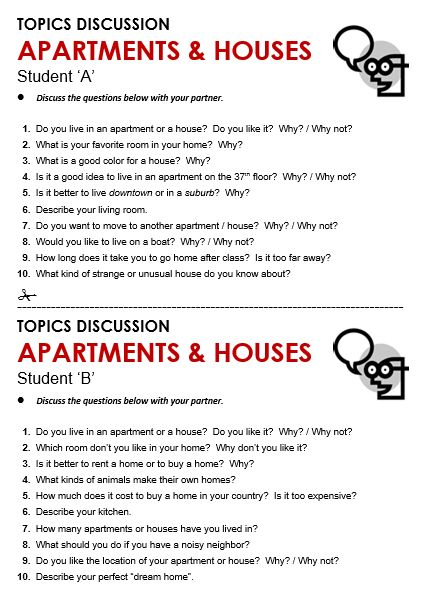 Apartment and Houses discussion sheet