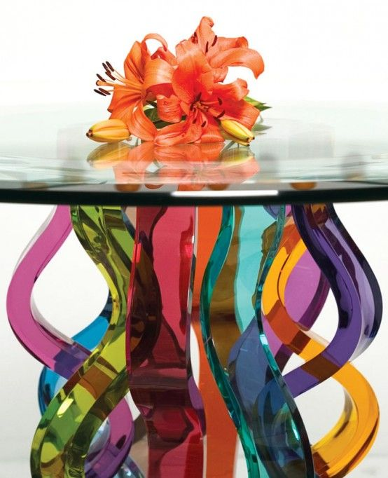 Beautiful Glass Bar Tables by H.studio #letscolour
