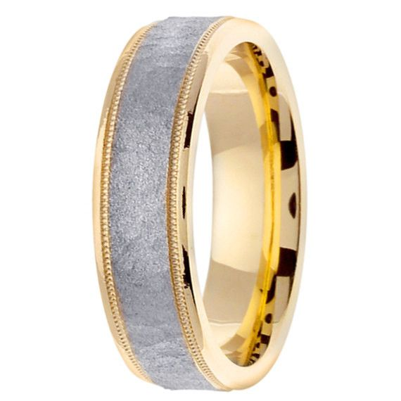 14K Two Tone Gold Hammer Finish Textured Center Wedding Ring Band, For His and Hers