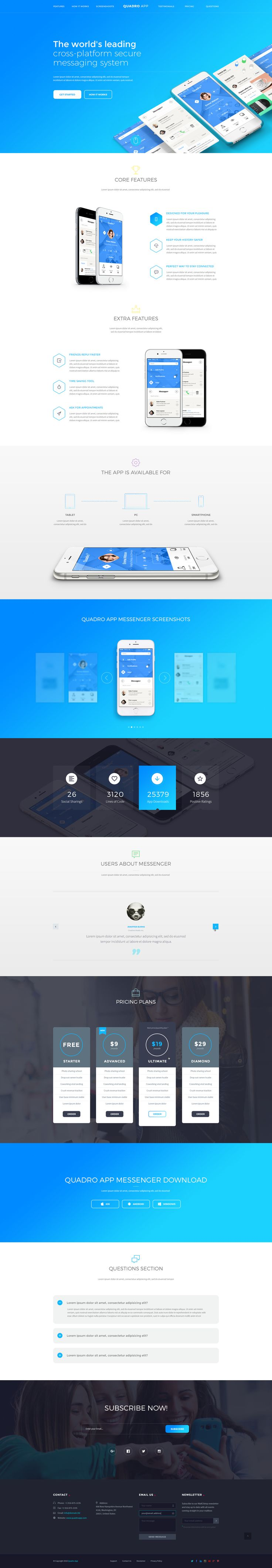 Quadro App is a clean & modern app one page template. If you need a landing page for a mobile app, this template is ideal for your business goals. Features Trendy & modern design 2 PSD fi...