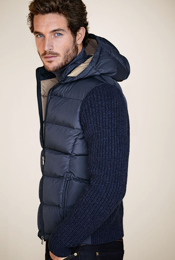 Ribbed Navy Wool Sweater, Navy Quilted Puffer Vest with Hood. Men's Fall Winter Fashion.