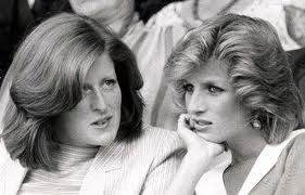 Diana at Wimbledon with her sister, Lady Jane in 1984.