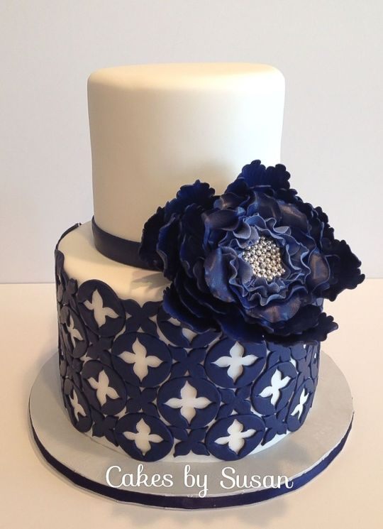 Navy Blue and White wedding cake   with large navy sugar flower ~ all edible