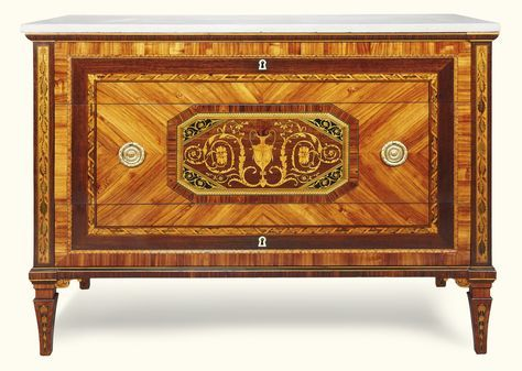 Italian tulipwood, fruitwood, ebony, amaranth and marquetry neoclassical commode in the manner of Francesco Abbiati, late 18th/early 19th century