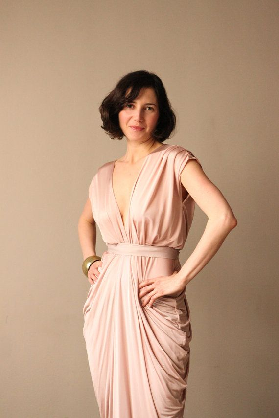 New Year Special Pink Champagne Evening Dress  by BLUSHFASHION, $127.20
