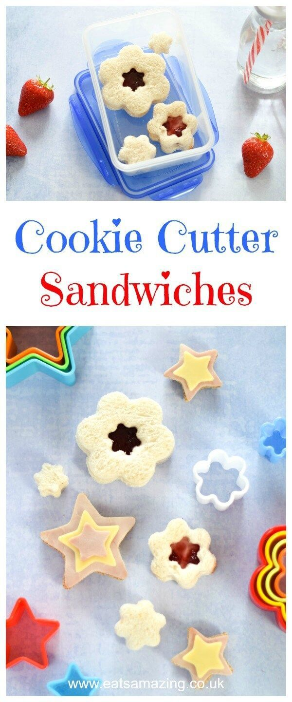 Make sandwiches fun with cookie cutters - easy packed lunch ideas for kids from Eats Amazing UK - with Flowers and Stars Layered Sandwiches #FunFood #KidsFood #LunchBox