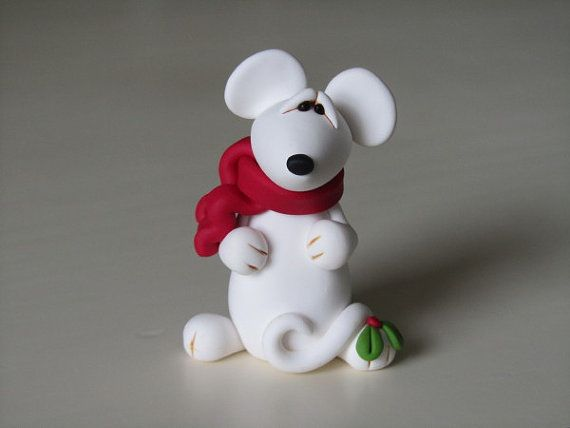 Polymer Clay Christmas Mouse Figurine by ClayPeeps on Etsy, $8.50