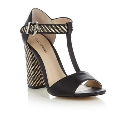 Call It Spring Black 'Ybaevia' woven block heeled sandals- at Debenhams.com