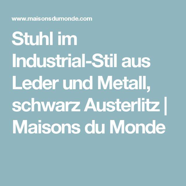 Stuhl im Industrial-Stil aus Leder und Metall, schwarz Austerlitz   Maisons du Monde