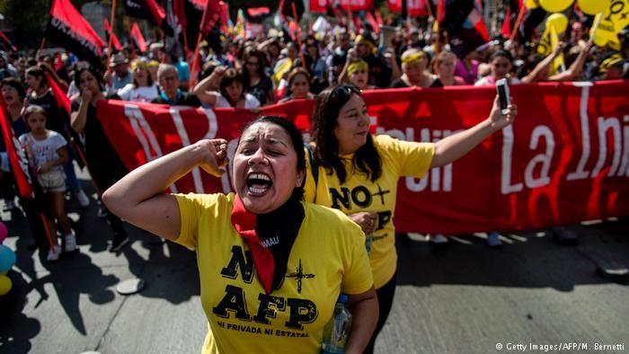 Momento de la protesta en Santiago.