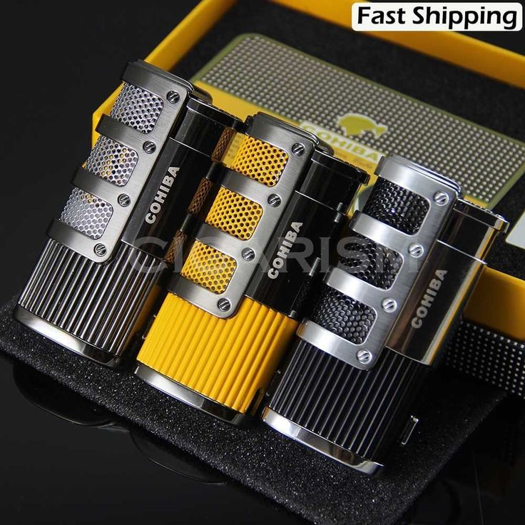 COHIBA Gridding Stripes 3 Torch Jet Flame Cigarette Cigar Lighter W/Punch #COHIBA